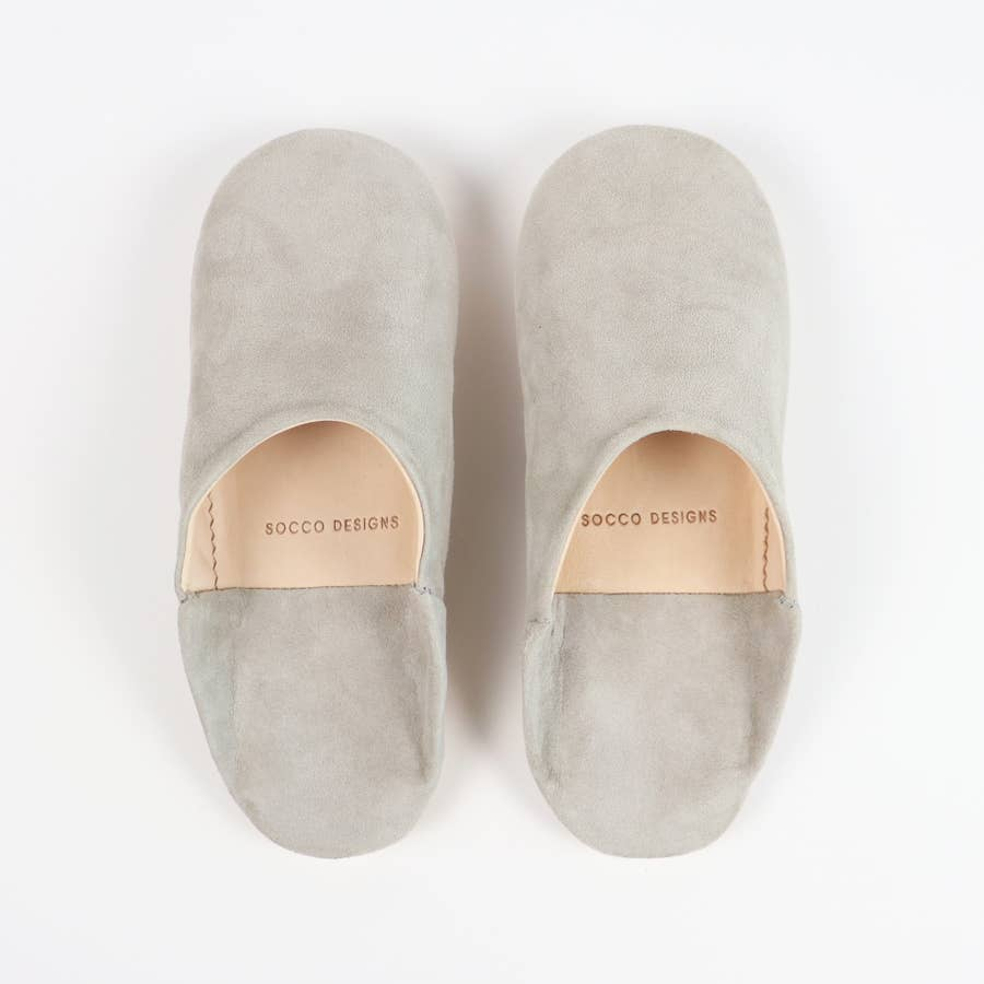 Suede Slippers, Grey - Women Moroccan Babouche Slippers