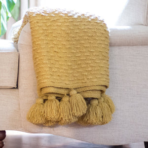Boucle Woven Throw - Yellow