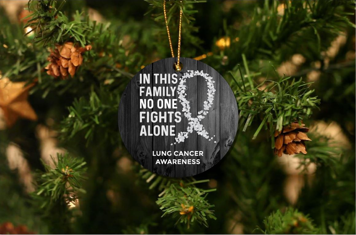 Lung Cancer Awareness Christmas Ornament