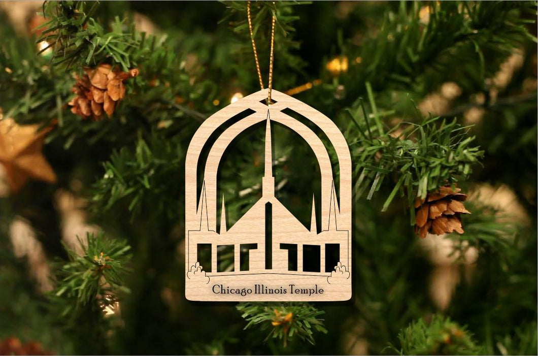 Chicago Illinois Temple Christmas Ornament