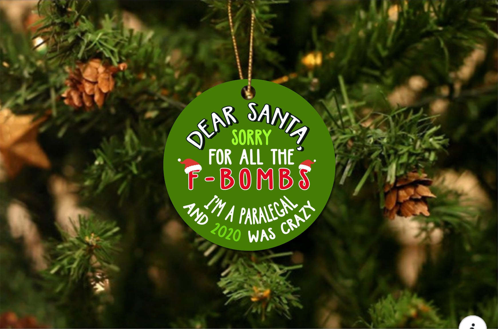 Santa F Bomb Paralegal Christmas Ornament