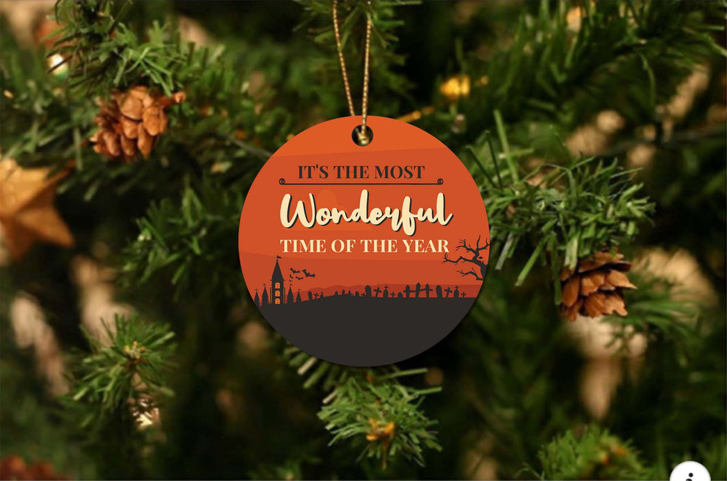 Halloween Most Wonderful Time Christmas Ornament
