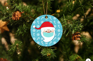 Santa Face Mask Christmas Ornament