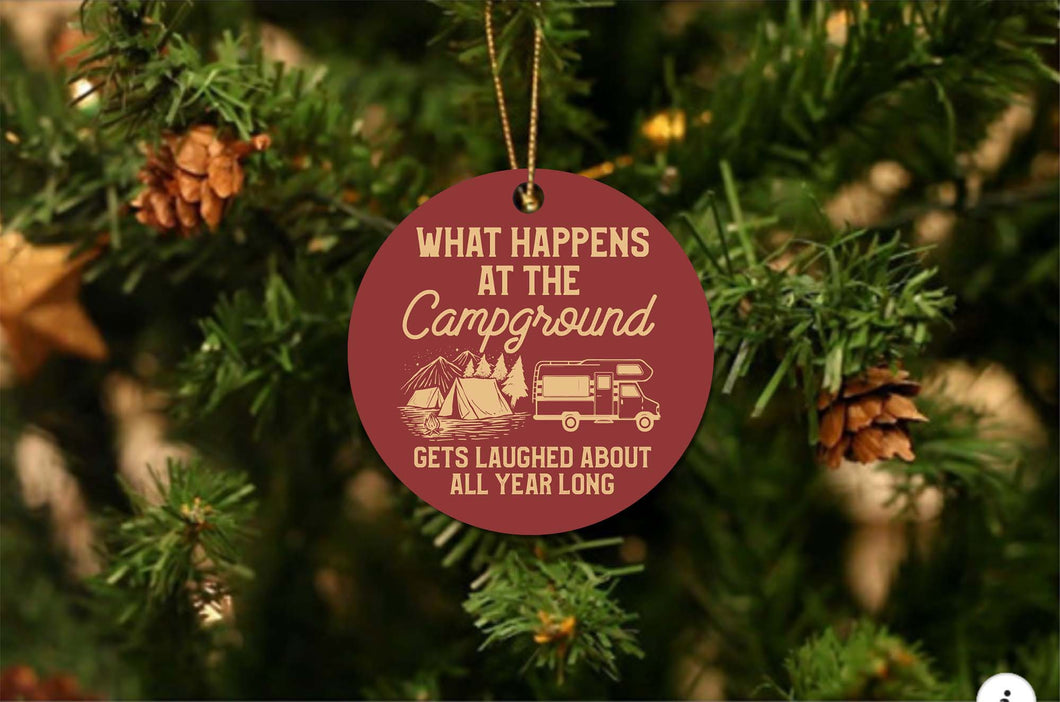Campground Funny Christmas Ornament