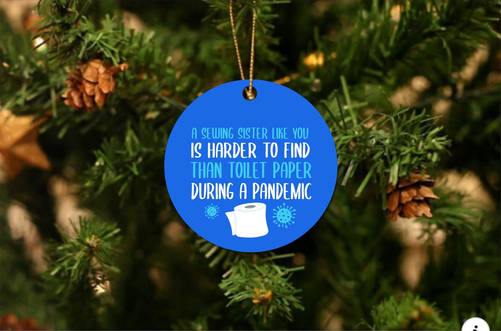 Sewing Sister Pandemic Christmas Ornament