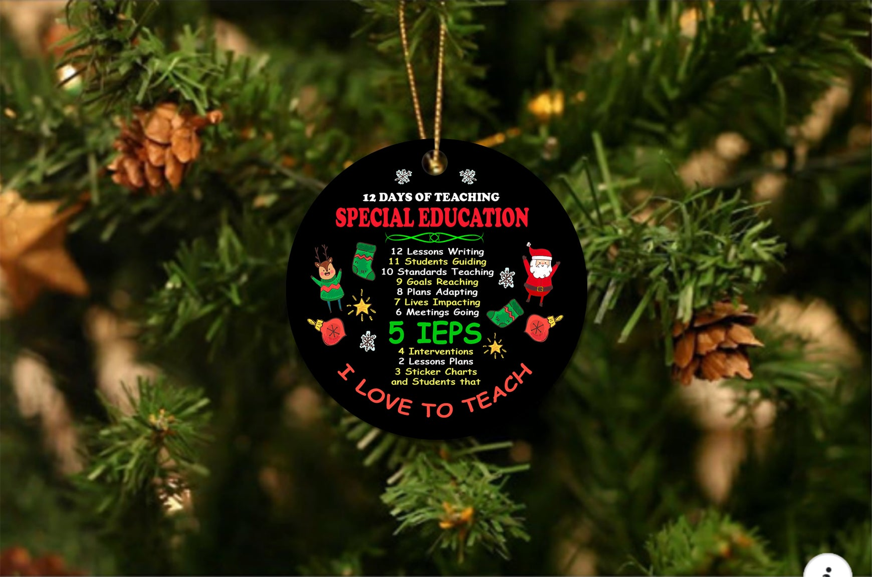 Special Ed 12 Days Christmas Ornament