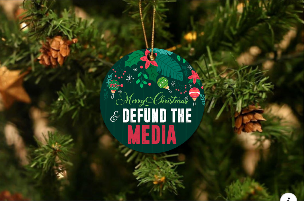 Defund the Media Christmas Ornament