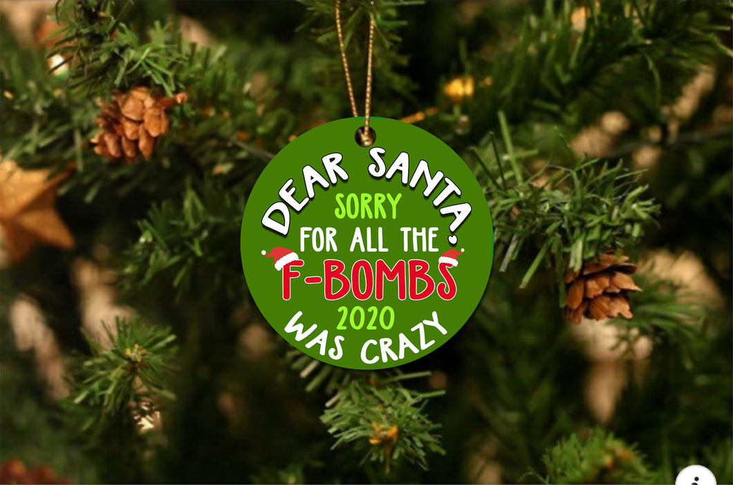 Santa Fbombs Christmas Ornament - Buy 10 Get 50% OFF!