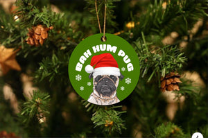 Bah Hum Pug Christmas Ornament