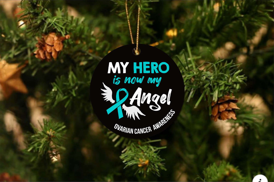 Ovarian Cancer Angel Christmas Ornament