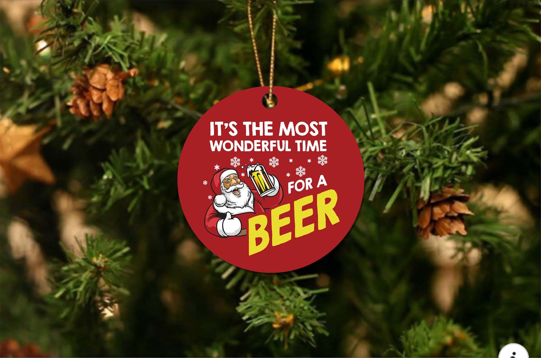 Wonderful Time For A Beer Christmas Ornament