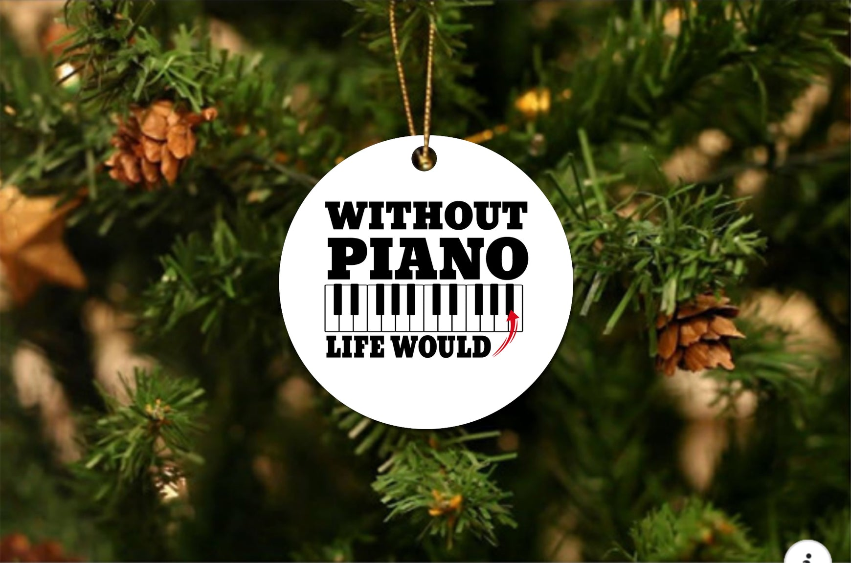 Without Piano Christmas Ornament