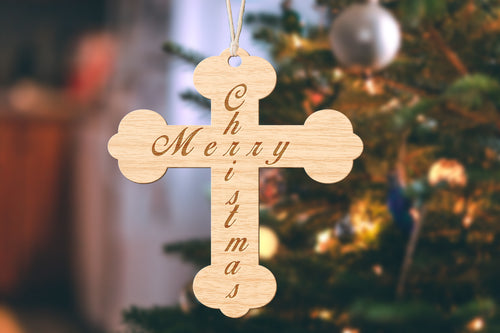 Cross Merry Christmas Small Christmas Ornament