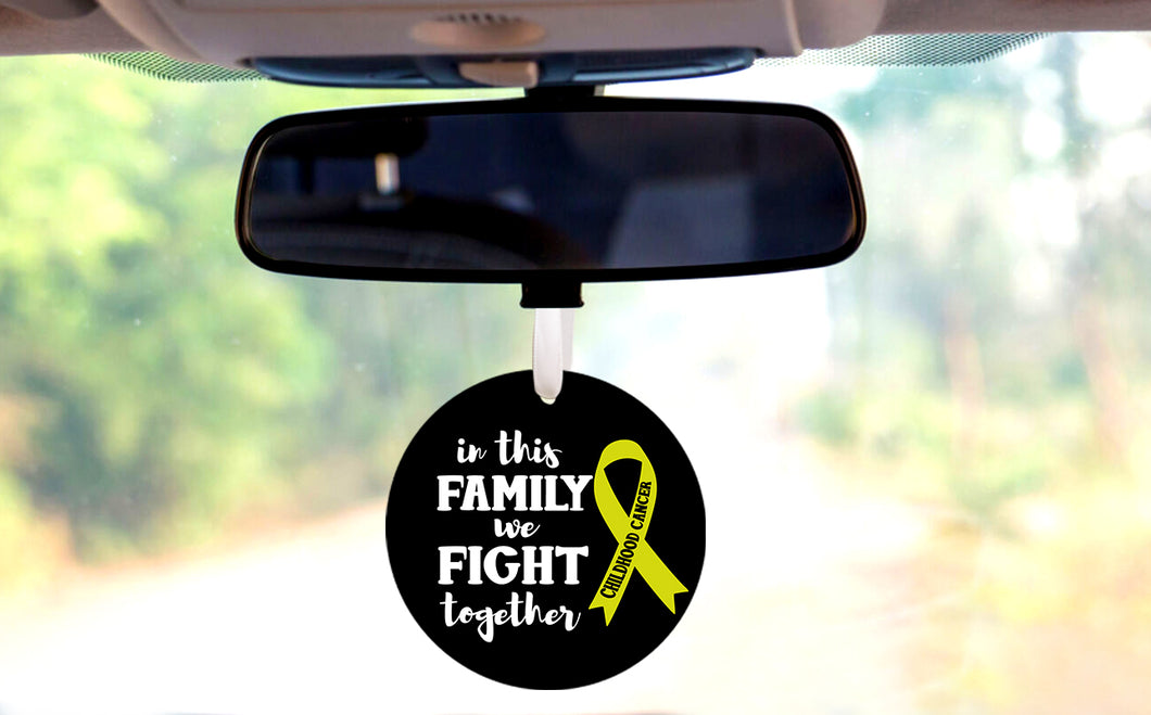 In This Family We Fight Together Childhood Cancer Car Hanger Ornament