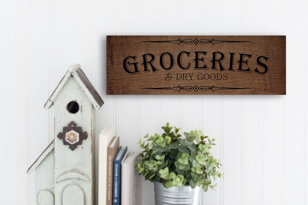 Rustic Wood Groceries Sign