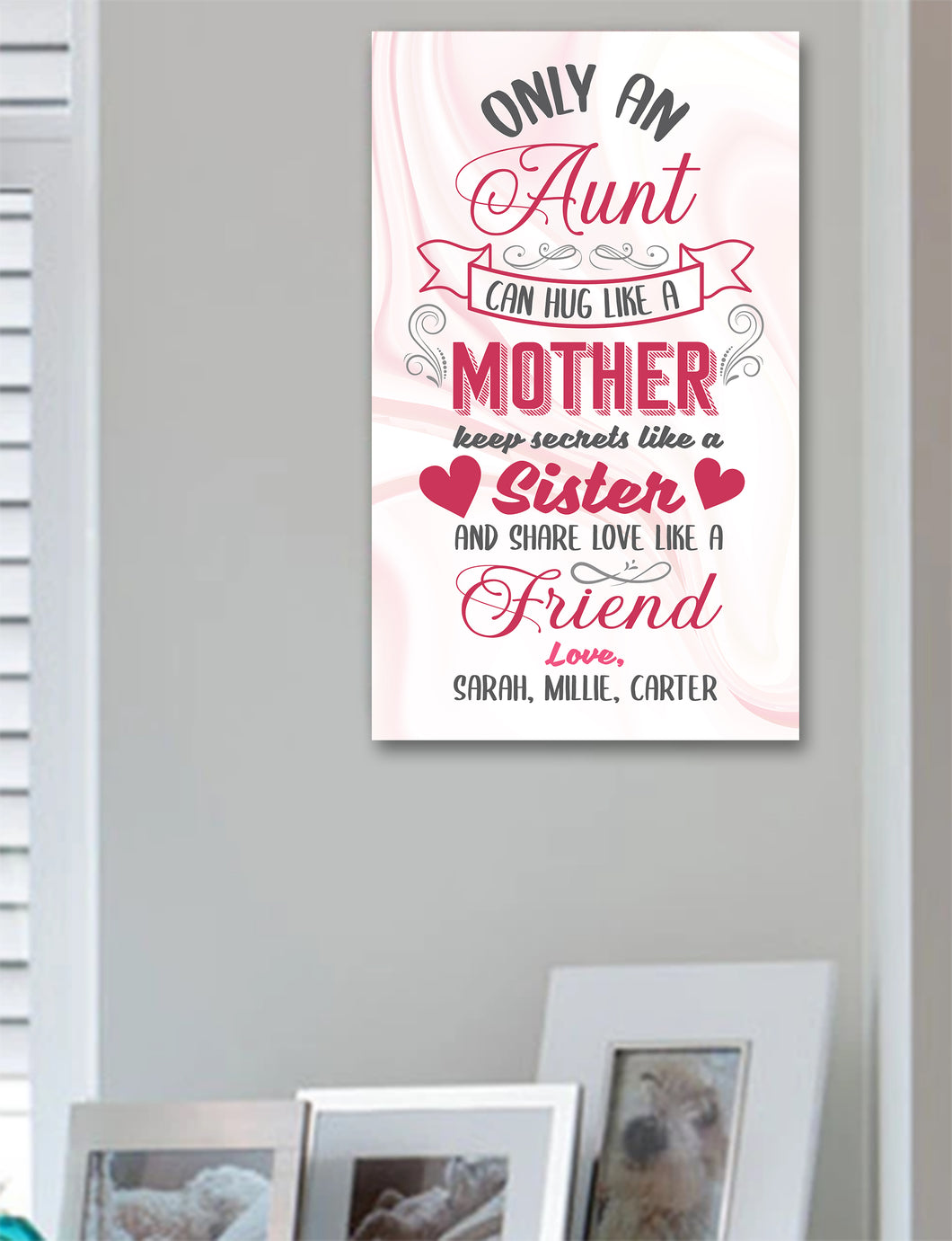 Only An Aunt Can Hug like A Mother Personalized Wood Sign