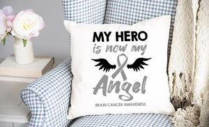 Brain Cancer Angel Throw Pillow Cover