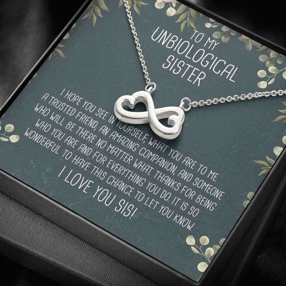 Unbiological Sister Infinity Heart Necklace