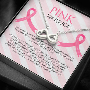 Breast Cancer Pink Warrior Infinity Heart Necklace