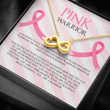 Load image into Gallery viewer, Breast Cancer Pink Warrior Infinity Heart Necklace