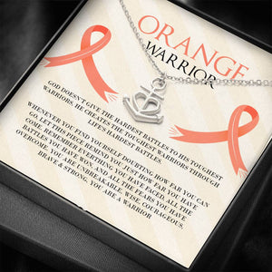Leukemia Orange Warrior Anchor Necklace