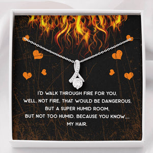 Walk Through Fire Ribbon Drop Pendant Necklace