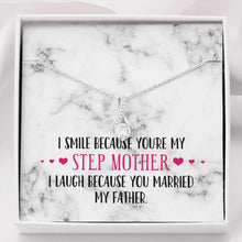 Load image into Gallery viewer, Smile Step Mother Ribbon Drop Pendant Necklace