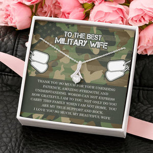 Military Wife Ribbon Drop Pendant Necklace