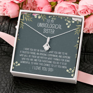 Unbiological Sister Ribbon Drop Pendant Necklace