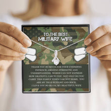 Load image into Gallery viewer, Military Wife Ribbon Drop Pendant Necklace