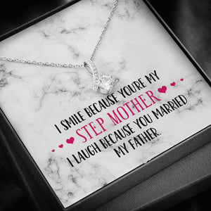 Smile Step Mother Ribbon Drop Pendant Necklace