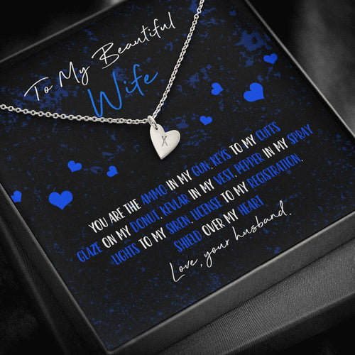Police Wife Heart Charm Necklace