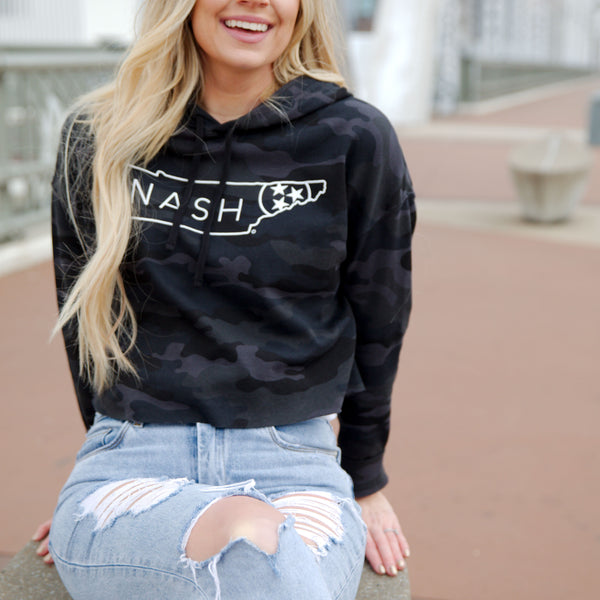 Nash Cropped Hoodie [Black Camo]