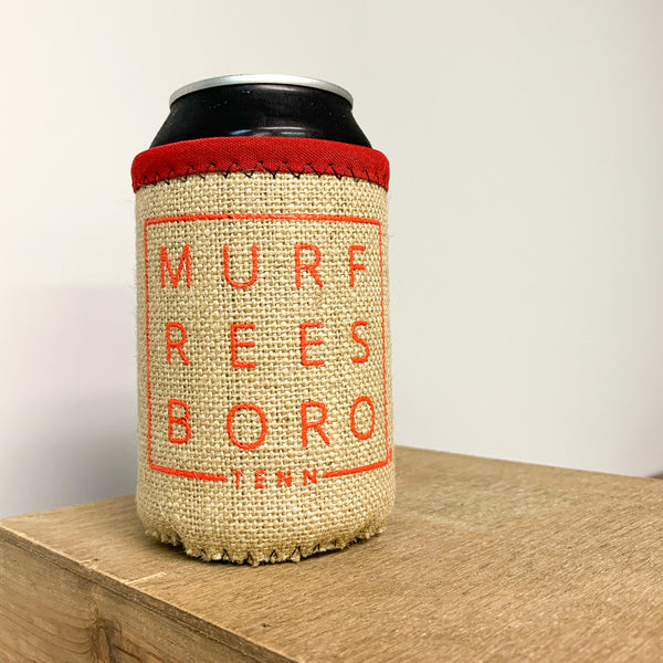 Burlap Boro Square© Koozie [Red]