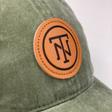 Olive TN Leather Patch Pigment Dyed Cap