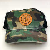 Camo TN Leather Patch Washed Trucker