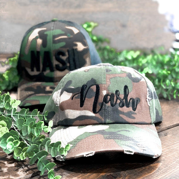 Distressed Nash Script Hat [Camo]