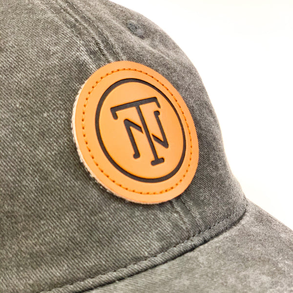 Charcoal TN Leather Patch Pigment Dyed Cap