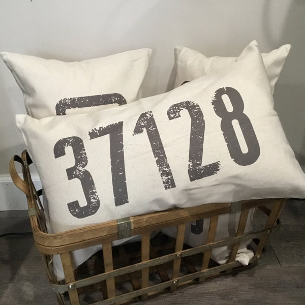 Zip Code Canvas Throw Pillows