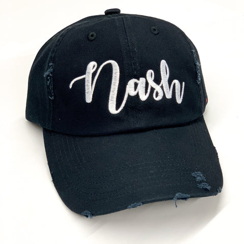 Distressed Nash Script Hat [Black]