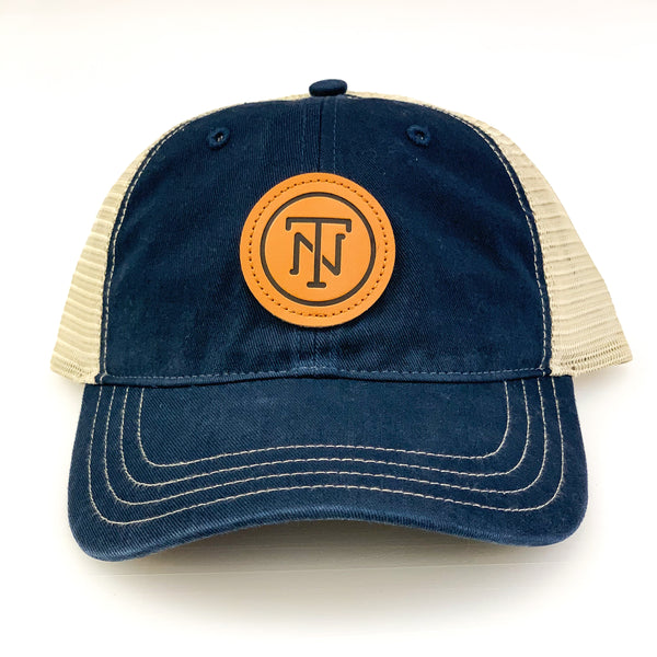 Navy TN Leather Patch Washed Trucker