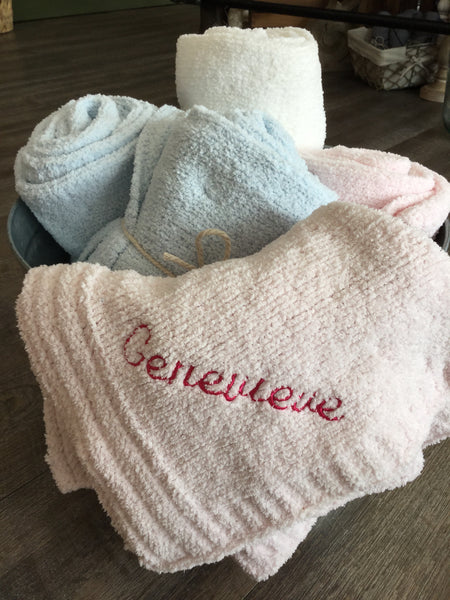 Chenille Baby Blanket Personalized