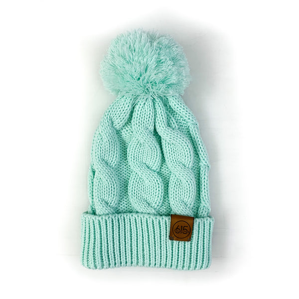 Chunk Twist Knit Pom Beanie [Mint]