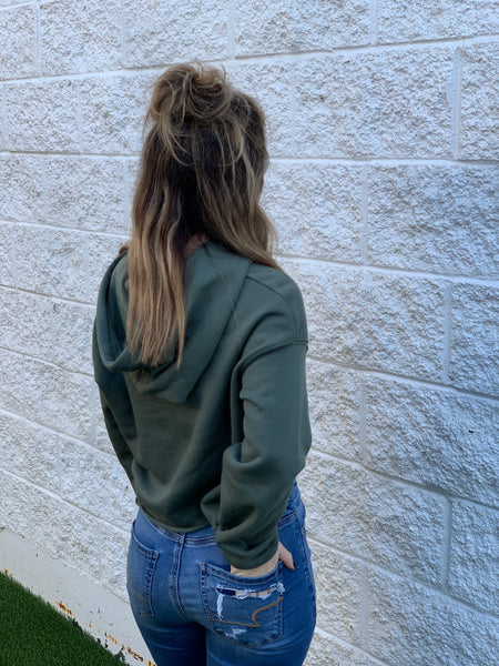 Nash Cropped Hoodie [Military Green]