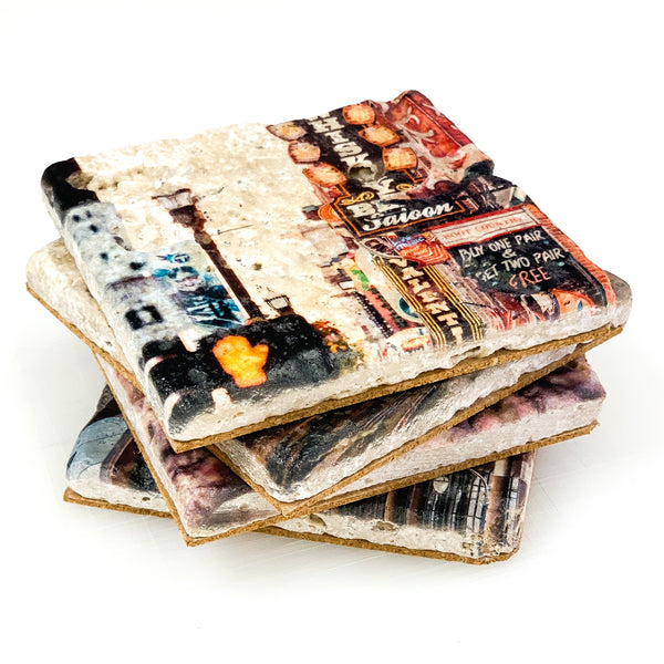 Downtown Nashville Travertine Coaster Set