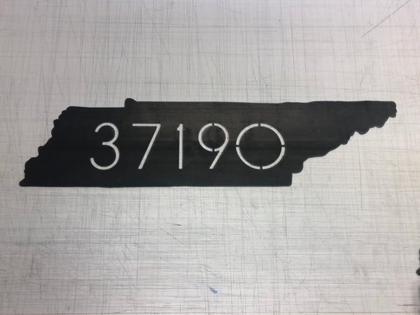 Raw Metal Zip Code Sign