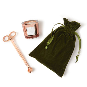 Holiday Copper Cannabis Votive and Wick Trimmer in Velvet Bag