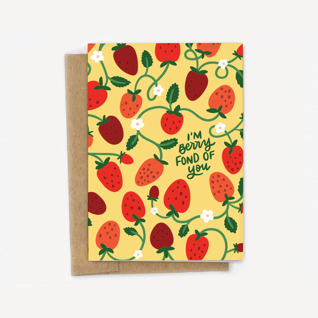 I'm Berry Fond of You Strawberry Love Card 1