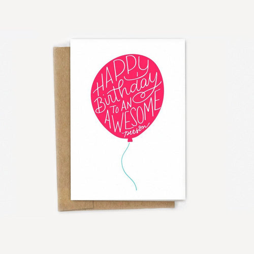 Awesome Person Birthday Balloon Card
