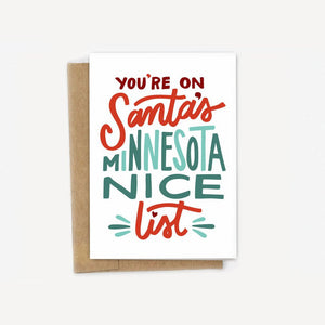 You're On Santa's Minnesota Nice List Holiday Card